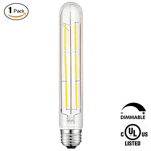SUNMEG T10 Tubular Bulb LED, 6W Edison Filament Night Light Bulb, 60W Incandescent Equivalent E26 medium Base, Warm White 2700K, 360 Degree Beam Angle