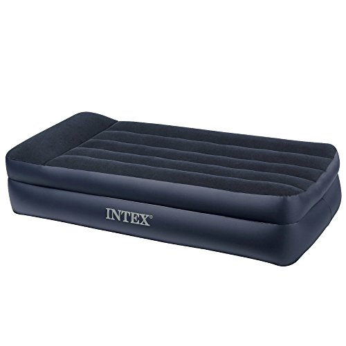 Intex Pillow Rest Raised Airbed with Built-in Pillow and Electric Pump Twin Bed Height 16 12