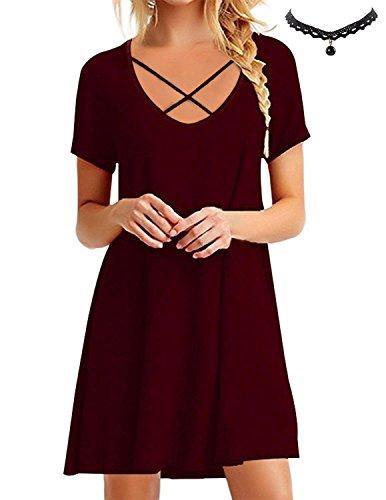 BUOYDM Mujer Vestido de Camiseta Shirt Manga Corta Casual Vestido Corto Túnica Camisa Largo Rojo Vino