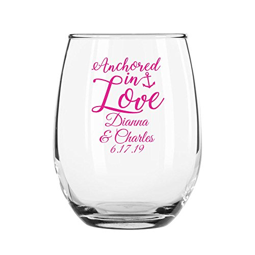 48 Pack Personalized Color Printed 9 Ounce Stemless Wine Glass - Anchored in Love - Fuchsia by All Gifts