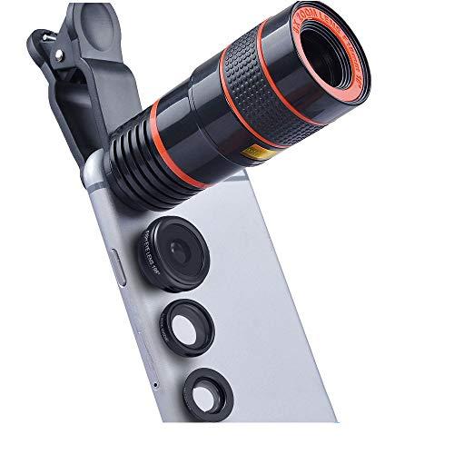 XWEM Lente de la cámara del teléfono móvil teleobjetivo Ojo de pez Macro Gran Angular Lente de teléfono móvil Cuatro en...