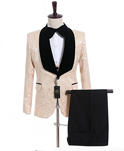 - Anylinksuit 3 Piece Champagne Paisley Men Prom Dress Tuxedos Suits