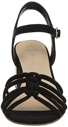 Wide Femme 1 Foot New Ouvert Noir Black Otter Look Bout Sandales U7H1pw