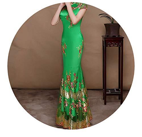 費やすウミウシ参照チャイナドレス長いスパンコール刺繍レーススリム薄い半袖スタイル,グリーン,ザ?