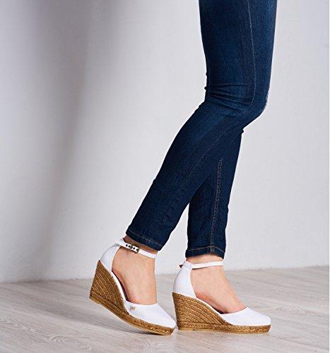 White tacco cinturino in in Spagna alla Viscata comode punta caviglia eleganti 62 nbsp;cm Estartit chiusa Espadrillas made 7 tela xPwxqUpYB