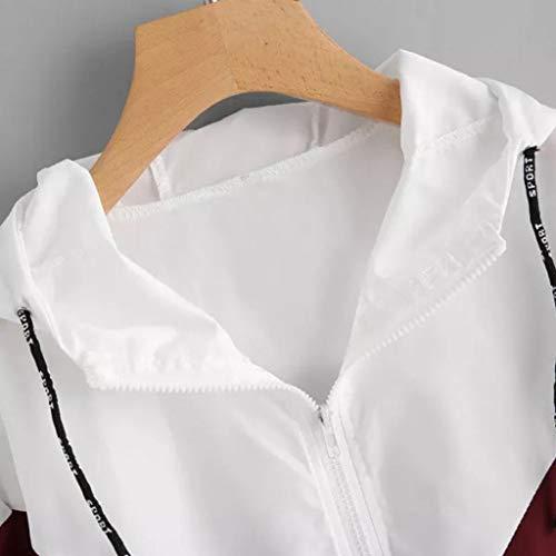 di Tops ❀❀ Floreali Camicie ABCone Cappotto Patchwork Pullover Sport T Elegante Maniche Shirt di con Donna Autunno Tasche Zip Vendita Lunghe Rosso Casual con Cappuccio Camicette liquidazione qEE47Iw