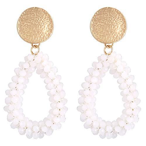 Stylebar Teardrop Beaded Earrings for Summer Bohemian White Bead Boho Drop Dangle Earring Handmade Jewelry for Women Girls Daily Wedding Party