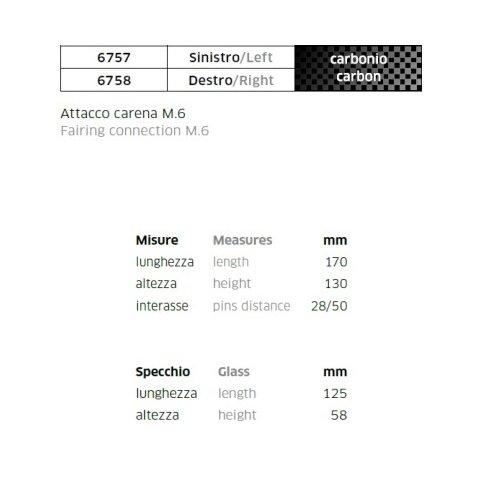 COMPATIBILE CON YAMAHA YZF R6 600 COPPIA SPECCHIETTI DA CARENA PER MOTO RETROVISORE FAR CARBON LOOK SPECCHIO 6757+6758+KIT MONTAGGIO M.6 INCLUSO SPECCHI SPORTIVI