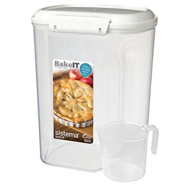 Sistema Bake It Food Storage for Baking Ingredients, Flour Container with Measuring Cup, 14 Cup