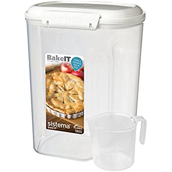 Sistema Bake It Food Storage For Baking Ingredients, Flour Container With  Measuring Cup, 14