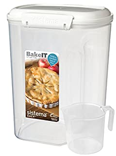 Sistema Bake IT Sugar Storage Container with Measuring Cup, 13.7 Cup/3.25 L, Clear/White (B00284AG78) | Amazon price tracker / tracking, Amazon price history charts, Amazon price watches, Amazon price drop alerts