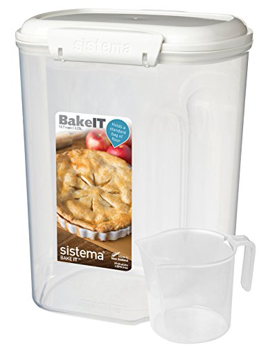 Sistema Bake IT Sugar Storage Container with Measuring Cup, 13.7 Cup/3.25 L, Clear/White