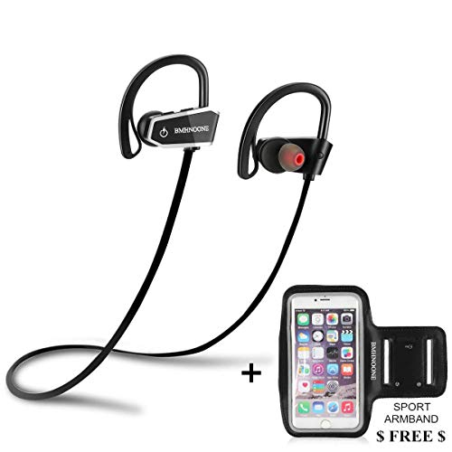 Bluetooth Headphones Wireless Headphones Running Earbuds Microphone SIRI Sport BMHNOONE Waterproof IPX7 HD Stereo Headsets for Cellphones Gym Workout(with Armband Free)