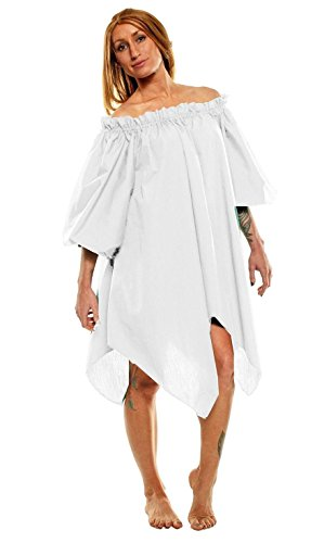 Women's Renaissance Halloween Costume Pirate Peasant Wench Fairy Dress (One Size, White) (Renaissance Halloween Costume)