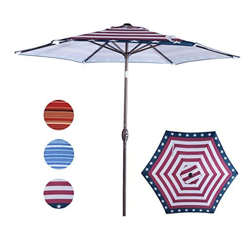 Cheap  Abba Patio Striped Patio Umbrella 9-Feet Outdoor Market Table Umbrella with Push..