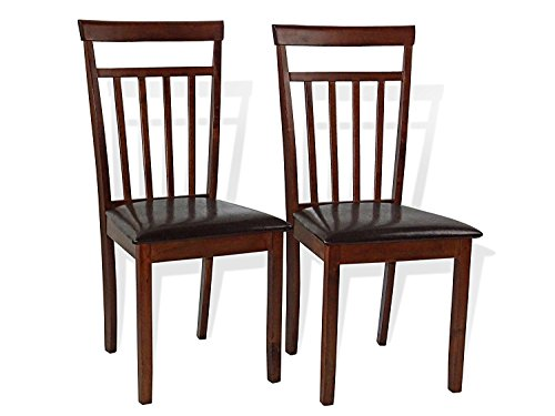 Rattan Wicker Furniture Set of 2 Dining Kitchen Side Chairs Warm Solid Wooden Padded Seat in Dark Walnut Finish Padded ()