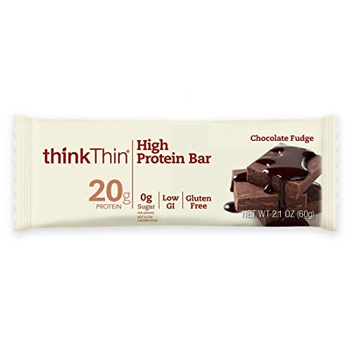 High Protein Bars by thinkThin  On The Go 20g Protein Low Sugar Gluten Free NonGMO  Chocolate Fudge 10 Bars