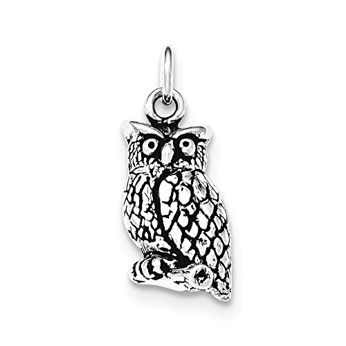 .925 Sterling Silver Antiqued & Textured Perched Owl Charm Pendant