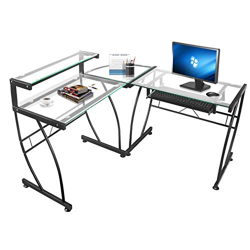 - JOO LIFE L-Shaped Computer Desk with Clear Tempered Glass Corner Computer Desk Shelf & Keyboard Tray,Spacious Work Area for Study Home Office