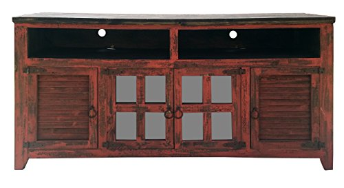 Hiend 60 Inch Rustic Western Red Antique Distressed Reclaimed Wood Look TV  Stand Solid Wood Already Assembled (60 inch red)