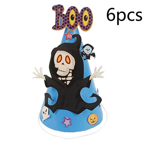 6pcs Halloween Party Hat Mini Cone Cap Paper Hats Headdress Halloween Head Accessories for Children Kids - Ghost]()