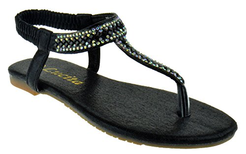 Lucita Pecko 1826KM Little Girls Rhinestone Glitter Gladiator Thong Sandals Black (Glitter Gladiator Sandals)