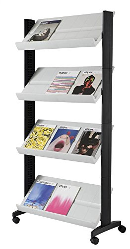PaperFlow 66 x 33.67 x 15.17 Inches XL Mobile Literature Display, Single Sided, 4 Shelves, Grey (UPP3.02)