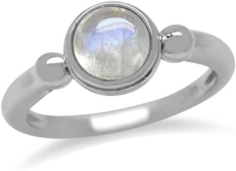 Rainbow Moonstone 925 Sterling Silver Solitaire Casual Ring