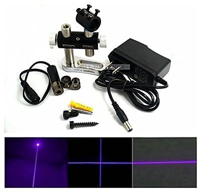 Industrial Violet Laser Diode Module 405nm 20mw 3v-5v Adjusted Dot/Line/Cross Lasers 13x42mm with Adapter & Heatsink