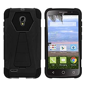 TurtleArmor | Compatible for Alcatel One Touch Pop Icon 2 Case [Dynamic Shell] Impact Cover Hard Kickstand Hybrid Shock Fitted Silicone Military War Robot Android Design - Black