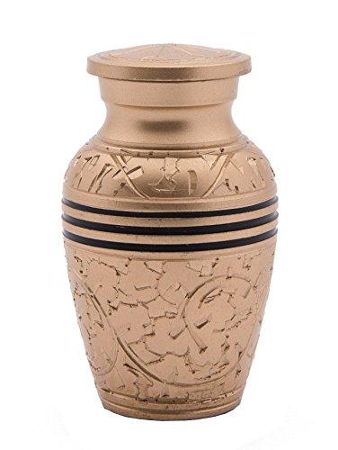 Eternity Branch Sprig Etched Brass Vase Urn (Brass Etched Vase)