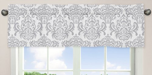 Sweet Jojo Designs Damask Print Window Valance for Girls Lavender, Gray and White Avery Teen Kids Childrens Bedding