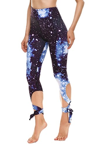 COCOLEGGINGS Womens Galaxy Print Tummy Control Workout Capri Tights Navy Blue M