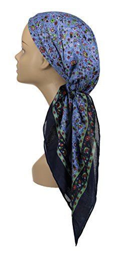 bluee Atara Large Head Wrap Scarf Soft Lightweight Easy Tie Square Chemo Scarves by