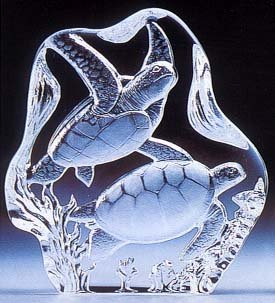 - VG Engraved Lead Crystal - Sea Turtle