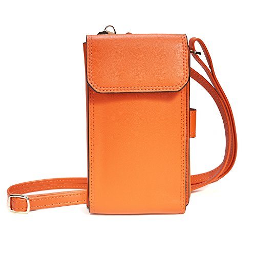 Credit Card Currency - Crossbody Wallet Pouch Purse Shoulder Bag Messenger Bag Cell Phone Bag PU Leather Multipurpose Wallet Case for Women (Orange)