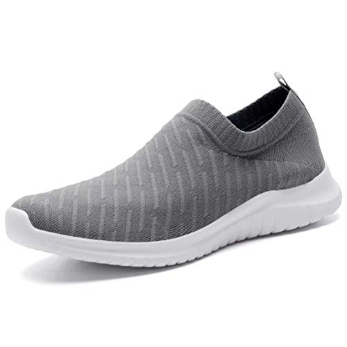 KONHILL Women's Lightweight Casual Walking Athletic Shoes Breathable Mesh Running Slip-on Sneakers, D.Gray, 36