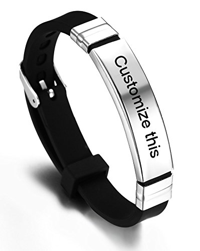 JF.JEWELRY Personalized Custom Silicone Cuff Bracelet for Kids with Stainless Steel Tag,Black