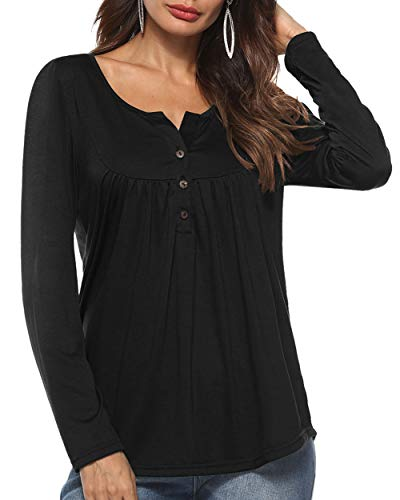 Aliex Women's Casual Tunic Top Long Sleeve Blouse Button Up
