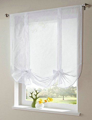 (WPKIRA 1 Panel Rod Pocket Top Ribbon Tie Up Solid White Roman Curtain Sheer Voile Balloon Shades with Solid Stripes Lift Sheer Curtain Drapes Voile Valances for Store Cafe Kitchen)