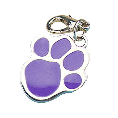 Rgrtmer Pet Cat Dog Footprint Keychain Stainless Steel Animal Paw Print Identity Tags ID Card Neck Collar Pendant