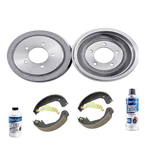 Detroit Axle - Pair (2) Rear Brake Drums w/Ceramic Brake Shoes w/Hardware & Brake Cleaner & Fluid for 2000 2001 2002 2003 2004 Chevy Tracker/Suzuki Vitara - [00-05 Grand ()