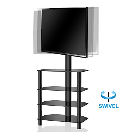 (FITUEYES 4-Tiers Corner TV Stand with Mount Audio Shelf and Height Adjustable Bracket Suit for 32-55 inch LCD, LED OLED TVs or Curved TVs TW406001MB)