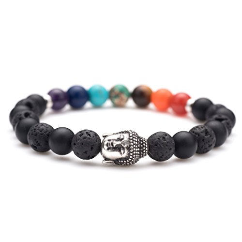 Karseer Antique Silver Buddha head statue Charm Yoga Meditation Chakra Stone Black Matte Onyx and Lava Beaded Healing Energy Stretch Bracelets 7