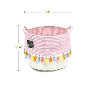 owhizz Cotton Rope Basket with Handles Round Woven Storage Hamper (Tassel)