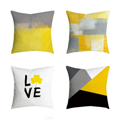 Outdoor Decorative Throw Pillow Covers Cushion Cases Home Decor Accent Square 18 x 18 Set of 4 for Couch Sofa,Geometric Yellow&Lemon Color