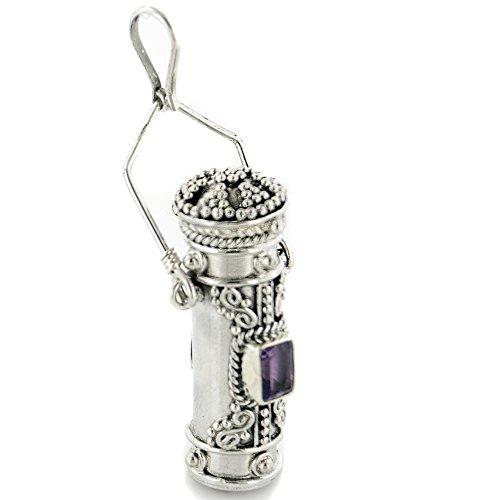 Tall Sterling Silver Amethyst Poison Bottle Pillbox Urn Pendant (Necklace Silver Urn Sterling)