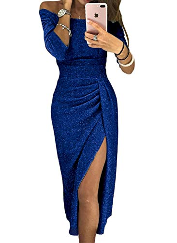 Fall Off The Shoulder High Slit Prom Dresses Women Blue Bodycon 34 Sleeve Elegant Formal Evening Party Cocktail Dress Medium (US 8-10) Blue
