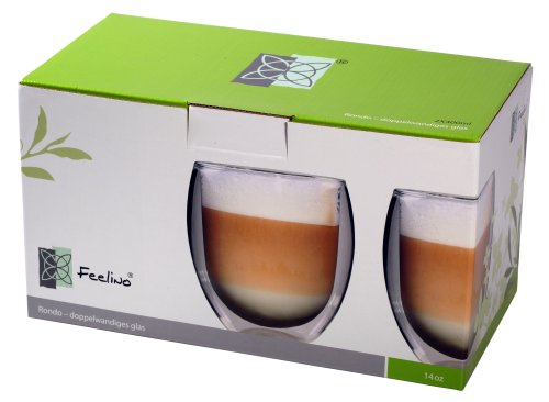 Rondo XXL doppelwandige Thermo-Teegläser / Kaffeegläser, 2 x 400 ml
