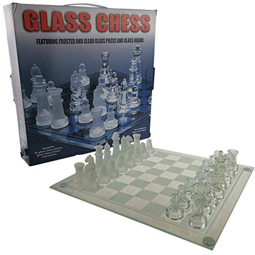GKanMore Glass Chess Set, 10×10 Inch Chess Board and 32 Frosted Clear Glass Pieces, Chess Game Set for Kids Adults…